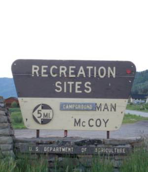 Turn at McCoy Creek Sign
